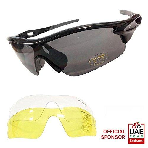 VeloChampion Warp Gafas de Sol (con 3 lentes: inc ahumado, claro) Negr