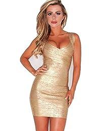 Nuovo da donna oro argento con angoli elasticizzato di alta qualità Benda  Bodycon Mini Party Dress 43a449ee9ad