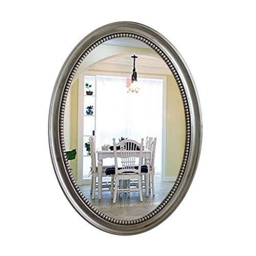 Espejo led Espejo de Maquillaje Espejo de Pared Ovalado Marco Plateado, tocador de protección Ambiental...