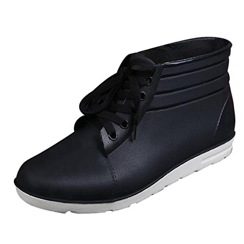 Men's Lace Up Slip On Rubber Waterproof Ankle Rain Shoes Black