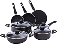 Royalford RF5857 16Pcs Non-Stick Cookware - Induction Pans with Coating Toughened Glass Lids and Heat-Resistan