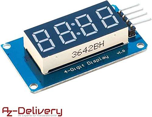AZDelivery 4 Bit Digital Tube LED Display Modul I2C mit Clock Display für Arduino und Raspberry Pi mit gratis eBook!