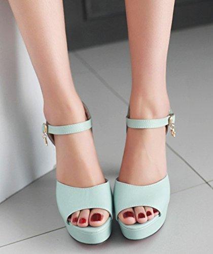 Aisun Damen Peep Toe Knöchelriemchen Offene Ferse Sandalen Pumps Blau