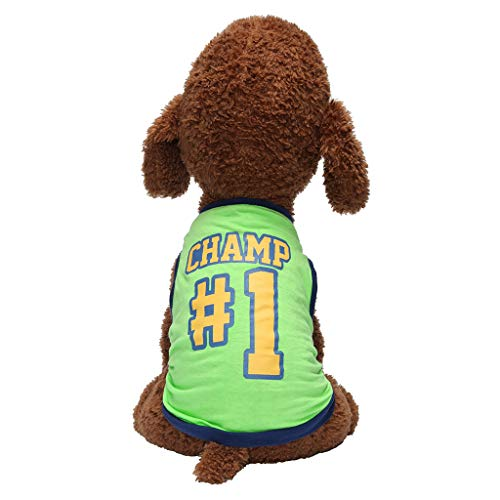 Notdark Sommer Pet Hunde Bekleidung Atmungsaktiv Brief Drucken Warm Hundekleid Rundhalsausschnitt Beiläufig Thermal Cotton (L,Grün) -