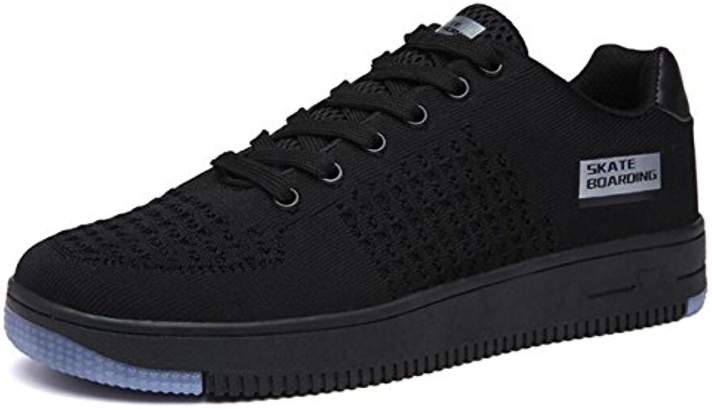 Zapatos de skate para hombre Acentos netos Deportivos Casual Low-Top Trainers (Negro Gris verde) ( Color : Black...