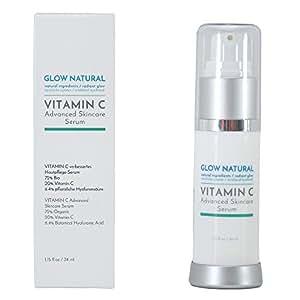 Glow Natural Vitamin C Serum Creme mit Hyaluronsäure, Bei Falten, Altersflecken und Verfärbungen, Unterstützung des Erscheinungsbildes des Hautbildes, geeignet für alle Hauttypen 34 ml Flasche