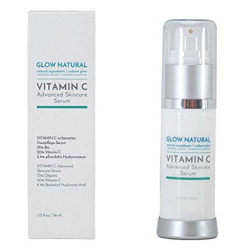 Glow Natural Vitamin C Serum Creme mit Hyaluronsäure, Bei Falten, Altersflecken und Verfärbungen, Unterstützung des Erscheinungsbildes...