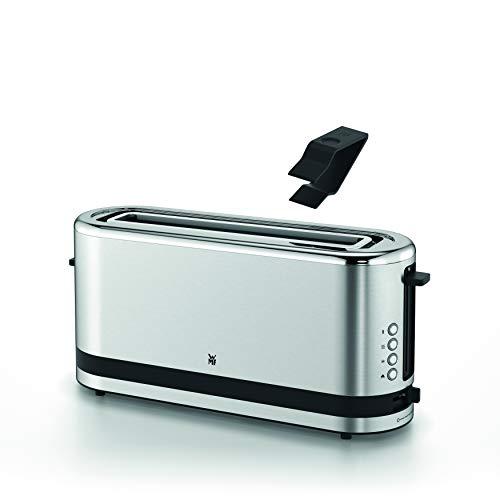 WMF Küchenminis Langschlitz-Toaster, integrierter Brötchenwärmer, cromargan matt, silber