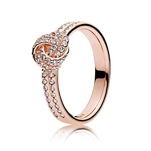 MANXUEUP Ring Authentic 925 Sterling Silver Rose Gold Sparkling Crystal Love Knot Feature Pan Rings for Women Wedding Gift Europe Jewelry,8