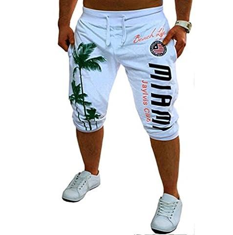 ZhiYuanAN Hommes L'impression Grande Taille Shorts D'été Loose Short Pantalons De Sport De Loisirs En Plein Air White L