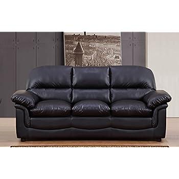 Lovesofas New Modern Verona 3 Seater Bonded Leather Living Room Sofa/Settee  (Black)