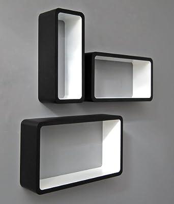 3 set lounge cube shelf design retro 70s wall shelf hanging shelf elongated shape in black white - low-cost UK light shop.