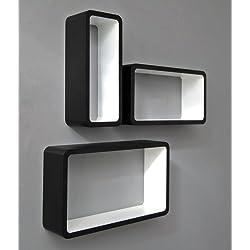3er Set Lounge Cube Regal Design Retro 70er Wandregal Hängeregal längliche Form in Schwarz Weiß