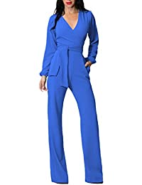 Tuta Donna Estiva Elegante Tute Lungo V Scollo Manica Lunga Jumpsuit Tasca  Frontale Puro Colore Pantaloni Tutine… 34595480846