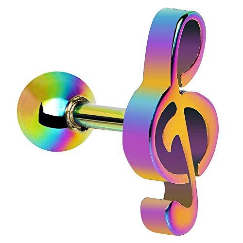 Regenbogen Metallic Violinschlüssel Musical Note Tragus oder Cartilage PiercingThickness: 1,2 mm Länge: 6 mm Material: Chirurgenstahl Überzug: ION (Das Katze Kostüme Musical)