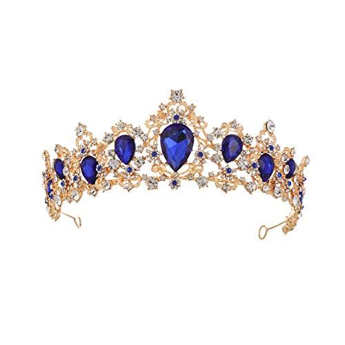 MoGist Hochzeit Krone Braut Tiara Luxuriöse Vintage farbige Strasssteine Gold Krone Strass Haarreifen Prinzessin Diadem (Blau)