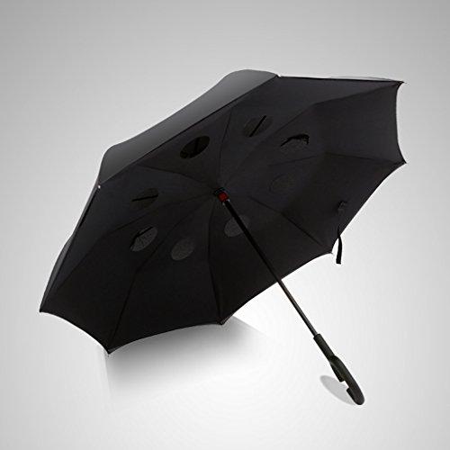 JSFQ Long Handle Reverse Umbrella Sunny Umbrella Fold Korea Folding Umbrella Double Layer Übergroße Männer und Frauen Free Style (Color : Black) -