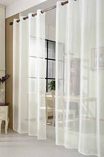 Gardine 140x225 cm Crème Gardinenschal Vorhänge mit Ösen transparent Ösenschal Dekoschal Ösenvorhang Fensterschal Voile VH5513cm