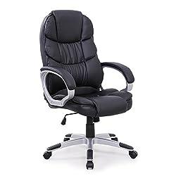 SVITA Chefsessel Bürostuhl Schreibtischstuhl Drehstuhl (Schwarz)
