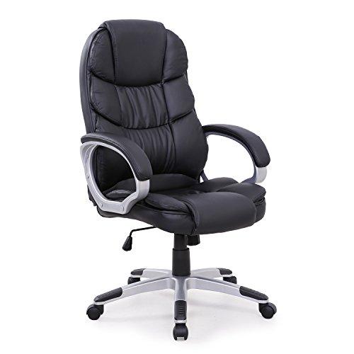 Chefsessel Bürostuhl Schreibtischstuhl Drehstuhl (Schwarz)