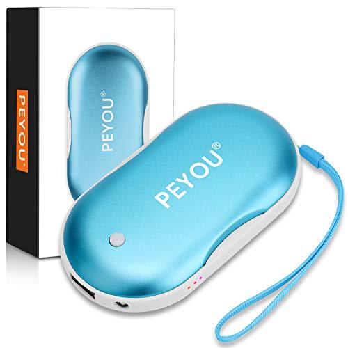 Peyou ricaricabile scaldamani con lampada a led,5200mah [3-in-1] elettrico mano warmer usb portatile power bank batteria con luce a led per iphone/samsung galaxy/huawei/honor (blu)