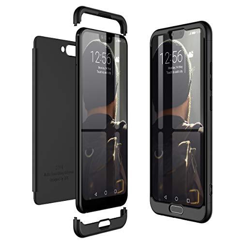 CE-Link Huawei Honor 10 Hülle Hardcase 3 in 1 Handyhülle 360 Grad Hard Hartschale Grad Full Body Case Cover Schutzhülle Bumper - Schwarz