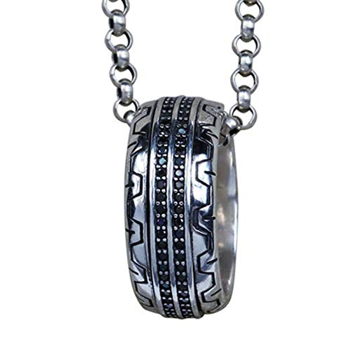 XYLUCKY Men es Sterling Silver Pendant Halskette, Black Diamond Tire Tread Style Grooved Silver Ring, mit Kette 55cm