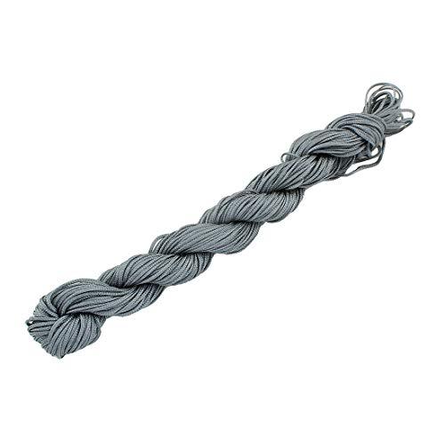 Perlin 60 Meter Makramee Garn 1mm Grau Silber Schmuckschnur Schmuckfaden für DIY Kette Armband Basteln C120 x 2