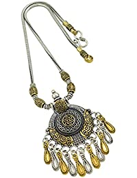 High Trendz Oxidised Gold Silver Dual Tone German Silver Gypsy Style Statement Pendant Necklace Jewellery For... - B0773MHYLW
