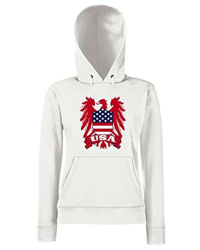 T-Shirtshock - Sweats a capuche Femme WC0111 USA STATI UNITI UNITED STATE Blanc