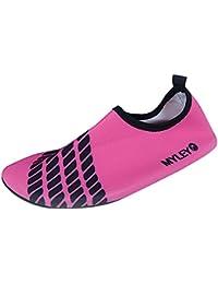Panegy - Zapatos Agua de Natación Infantil para Niños Niñas Slip on Suave Zapatillas Deportivos Acuático para Playa Piscina Zapatos de Piel Aqua Shoes - Rosa Azul Amarillo - Talla EU 24-34