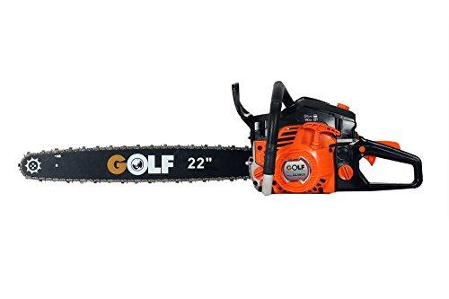 GOLF Plastic and Aluminum 58cc Fuel Chainsaw with 22' Chain-Guide Bar Gasoline-Powered (Orange and Black)