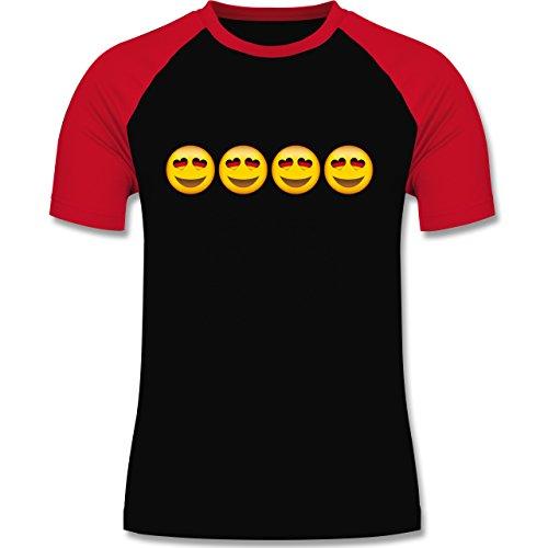 Shirtracer Comic Shirts - Verliebter Emoji Deutschland - Herren Baseball Shirt Schwarz/Rot