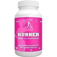 GYMLADYS Burner speziell für Frauen | 90 Kapseln, Grüner Tee Extrakt + Guarana Extrakt - 100% hergestellt in Deutschland