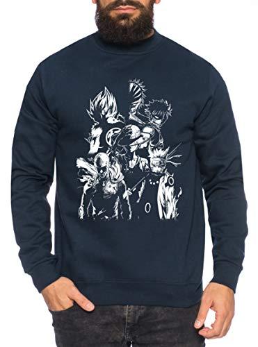 Heroes One Manga Helden Herren Sweatshirt Anime Piece, Farbe:Schwarz, Größe:S