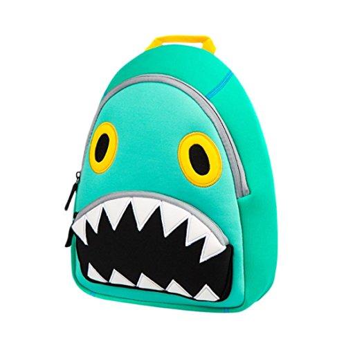 Reise-print Hobo (Gesteppten Rucksack, Manadlian Unisex Schulrucksack Taschen 3D Hai Print Reisen Wandern Tagesrucksäcke Kleinkind Kind Schultaschen Karikatur Schulter Buch Taschen (Grün))