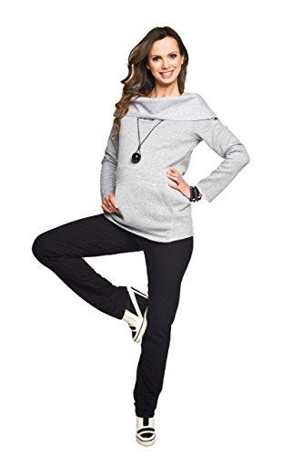 Bequeme Schwangerschaftshose, Baumwolle, Modell: FITNESS SLIM, schwarz, XS