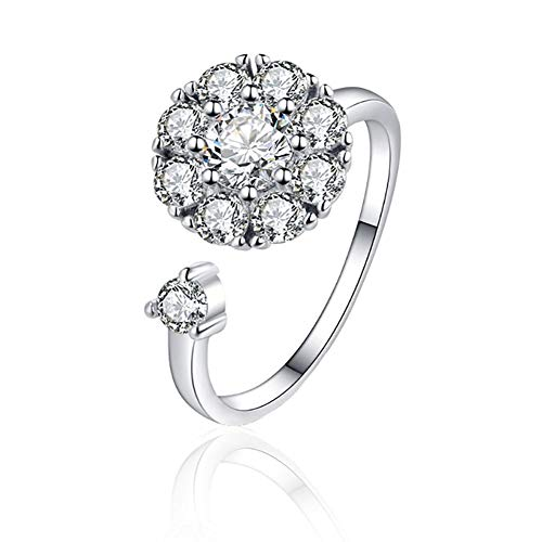 STUSH Adjustable Rotating Silver Metal Engagement Ring with Cubic Zirconia,Valentines Gifts for Women