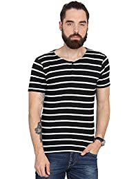 Urban Nomad Black and White Striped Polo T-shirt