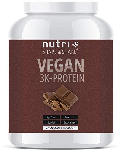 PROTEINPULVER VEGAN Schokolade 1kg - Low-Carb 3k Eiweißshake Chocolate Powder - Veganes Eiweißpulver Schoko 1000g - Proteinshake ohne Laktose - Eiweiß Isolate - in Deutschland hergestellt