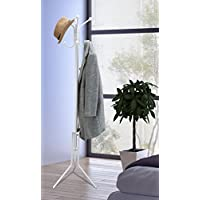 Vinsani Free Standing 8 Hook Steel Hat Clothes Jacket Coat Umbrella Storage Organiser Stand Rack - 175cm - White