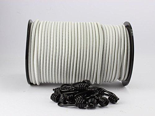10 m de tendeur blanc, de 6 mm de diamètre et avec 10 crochets à spirale en caoutchouc