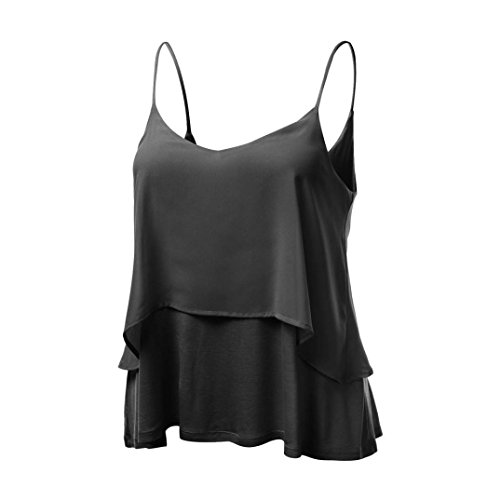 KaloryWee Women Flattering Flowy Swing Deep Neck Sleeveless Strappy Loose Ruched Pleated Layered Tank Crop Tops Chiffon Camisole Cami Blouse Vest Flared Mini T-Shirt