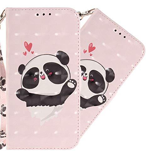 HMTECH Galaxy J3 Pro Coque 3D Luxu Cute Panda Coeur Slim Housse Étui PU Cuir Housse Coquille Couverture avec Magnétique Fonction Stand Compatible with Samsung Galaxy J3 2017,Heart Panda