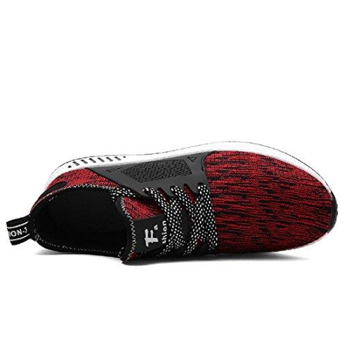 Hommes Chaussures de sport Respirant Loisir Entraînement Chaussures de course Formateurs Red
