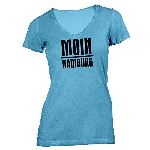 Damen T-Shirt V-Ausschnitt - Moin Hamburg - Nordisch Guten Morgen Hellblau