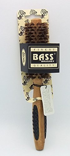 Bass Brushes Small Round: 100% Wild Boar Bristles, Short Hair Styles, Light Wood by Bass Brushes