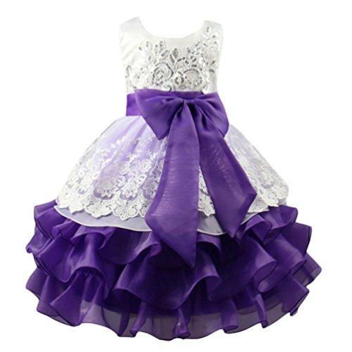 Niseng princess vestito tutu partito del vestito delle ragazze dei capretti di fiore di bowknot paillettes multistrato cerimonia di sera abiti viola 110