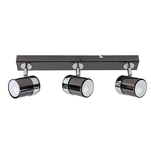 MiniSun Moderne 3 spot, Combinaison de Blanc Brillant & Chrome Poli. Rail, Réglette, Spot Plafonnier ou Applique. Réglable, GU10