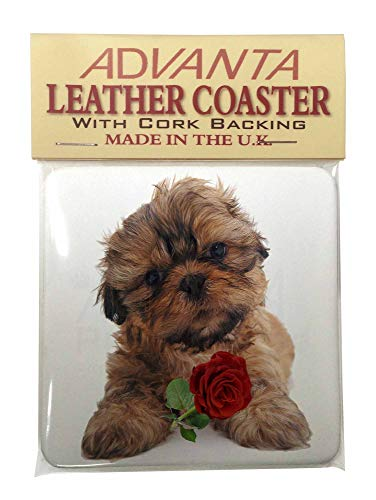 Shih Tzu Hund mit roten Rose Single Coaster Weihnachtsstrumpf-Füller Geschenk (Single Rose Rote)